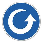 Kommandierte zeichen sicherheit zeichen piktogramm arbeitssicherheit zeichen gegen den uhrzeigersinn drehen-pfeil — Stockvektor