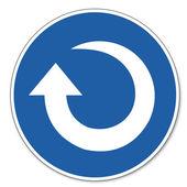 Befallde tecken säkerhet tecken piktogram arbetarskydd tecken medsols rotationspilen — Stockvektor