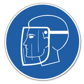 Commanded sign safety sign pictogram occupational safety sign use Face shield head — Stock Vector