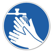Commanded sign safety sign pictogram occupational safety sign wash hands — Stock Vector