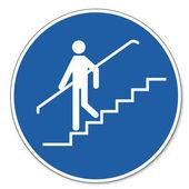 повелел знак безопасности знак пиктограмма безопасности труда знак перила использования — Cтоковый вектор