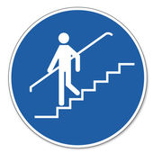 Commanded sign safety sign pictogram occupational safety sign Handrail use — Stok Vektör