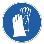 Commanded sign safety sign pictogram occupational safety sign Hand protection must be worn — Stock Vector