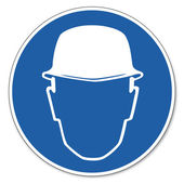 Commanded sign safety sign pictogram occupational safety sign Helmet use construction worker — Stock Vector