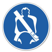 Commanded sign safety sign pictogram occupational safety sign seat belt apply — Stock Vector