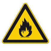 Safety signs warning BGV A8 triangle sign vector pictogram icon flame fire flammable — Stock Vector