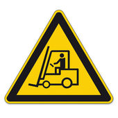 Safety signs warning triangle sign vector pictogram forklift BGV A8 Icon Handling — Stock Vector