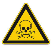 Safety sign triangle warning triangle sign BGV A8 vector pictogram icon skull toxic pirate — Stock Vector