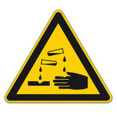 Safety signs warning sign BGV A8 vector pictogram icon triangular test tube handle corrosive — Stock Vector