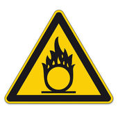 Safety signs warning triangle sign BGV A8 vector pictogram icon flame oxidizing — Stock Vector
