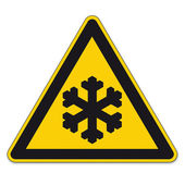 Safety signs warning triangle sign BGV vector pictogram icon black ice cold winter frost — Stock Vector