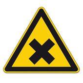 Safety signs warning sign BGV vector pictogram icon triangular cross harmful — Stock Vector