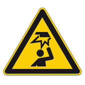 Safety signs warning triangle sign BGV vector pictogram icon crush your head edge — Stock Vector