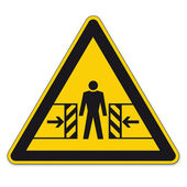 Safety signs warning triangle sign BGV vector pictogram icon crushing bruise — Stock Vector
