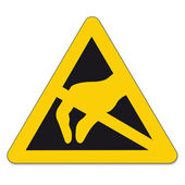 Safety signs warning triangle sign BGV vector pictogram icon Electrostatic sensitive devices — Stock Vector