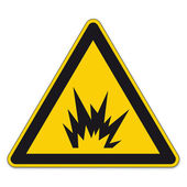 Safety signs warning triangle sign vector pictogram BGV A8 Icon bomb explosion tnt — Stock Vector
