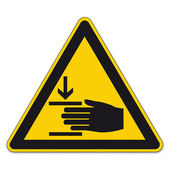 Safety signs warning triangle hand sign vector pictogram icon BGV A8 hand injuries — Stock Vector