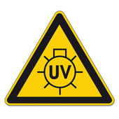 Safety signs warning triangle sign BGV vector pictogram icon UV sun lamp — Stock Vector