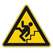 Safety signs warning triangle sign vector pictogram BGV A8 Icon stairs step railings — Stock Vector