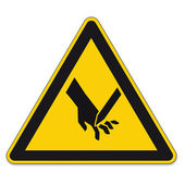Safety signs warning triangle hand sign vector pictogram BGV A8 Icon cut injuries — Stock Vector