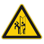 Safety signs warning triangle sign vector pictogram icon BGV door swing traffic — Stock Vector