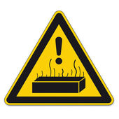 Safety signs warning triangle BGV exclamation sign vector pictogram icon hot substances — Stock Vector