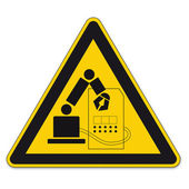 Safety signs warning triangle sign vector pictogram icon BGV industrial robot grasping space — Stock Vector