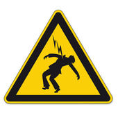 Safety signs warning triangle sign vector pictogram icon Danger high voltage lightning — Stockvector