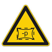 Safety signs warning triangle sign BGV A8 vector pictogram icon space zone pressure — Stock Vector