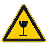 Safety signs warning triangle sign BGV vector pictogram icon shipping glass breakage — Stock Vector