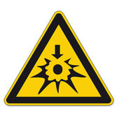 Safety signs warning triangle BGV explosion shield vector pictogram icon Autoignition — Stock Vector
