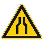Señales de advertencia triángulo signo icono vector pictograma bgv a8 estrecha calle coche — Vector de stock