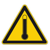 Safety signs warning triangle sign BGV high temperature thermometer vector pictogram icon — Stock Vector
