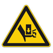 Safety signs warning triangle sign BGV hand vector pictogram icon crushing press-fit — Vettoriale Stock