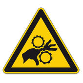 Safety signs warning triangle sign vector pictogram BGV A8 Icon hand injury gear — Stock Vector