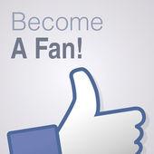 Face symbol hand i like fan fanpage social voting dislike network book become a fan — Stock Vector