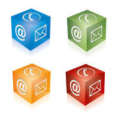 Contact cube phone at email e-mail hotline kontaktfomular callcenter call pictogram sign symbol cube set — Stock Vector