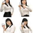 Bussiness woman holds out a blanc card template — Stock Photo #11104512
