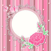Vintage background with flowers and lace frame — Stock Photo