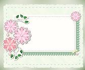 用鲜花和花边复古背景 — 图库照片