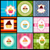 Set of vintage card with cupcakes — Stock Photo