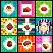 Set of vintage card with candy — Stock Photo