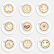 Stock Photo: Set of cappuchino coffee cups with dfferent decoration