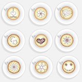 Set of cappuchino coffee cups with dfferent decoration — Stock Photo