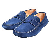 Pair of blue male suede shoes — Stock Photo
