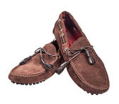 Pair of brown suede male shoes — 图库照片