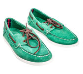 Pair of green male suede shoes — Stock Photo