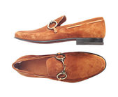Brown luxury suede male shoes — Stock Photo