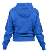 Back side of blue smock with hood and red strips isolated on white background — Zdjęcie stockowe
