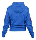 Face arrière de la blouse bleue avec capuche et rouge bandes isolé sur fond blanc — Photo